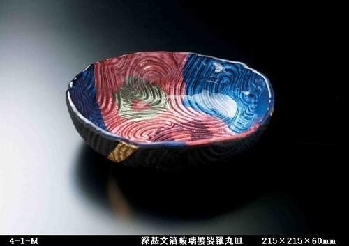 深甚文箔玻璃婆娑羅丸皿(215×215×60㎜)4-1-M