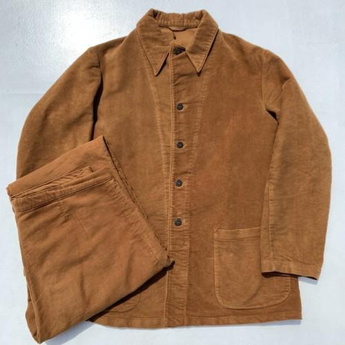 60's イタリア軍  モールスキン ホスピタルジャケット&パンツ セットアップ オレンジブラウン サイズ2 美品 希少 ヴィンテージ BA-876 RM1245H