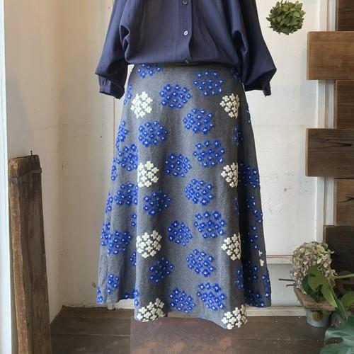 【フレアスカート】flower star/グレー/original textile《オーダー可能》