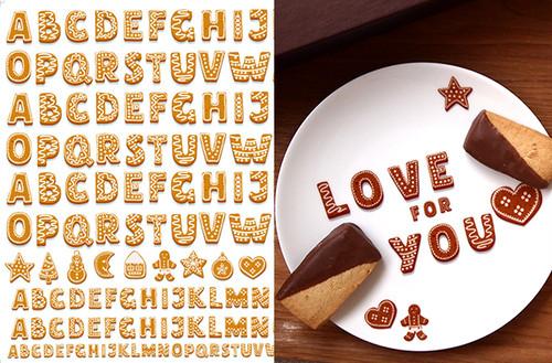 COOKIE クッキー♪ アルファベット A3サイズ (ポーセリンアート用転写紙)