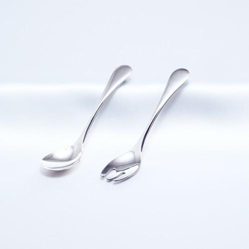 純銀 ベビースプーン&フォーク 名入れ2ヶ所彫刻 送料無料 No.32704-1