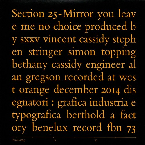 【7inch・英盤】Section 25 / Mirror , You Leave Me No Choice