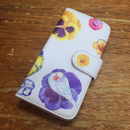 ★受注作成★ iPhone手帳型ケース 文鳥とパンジー