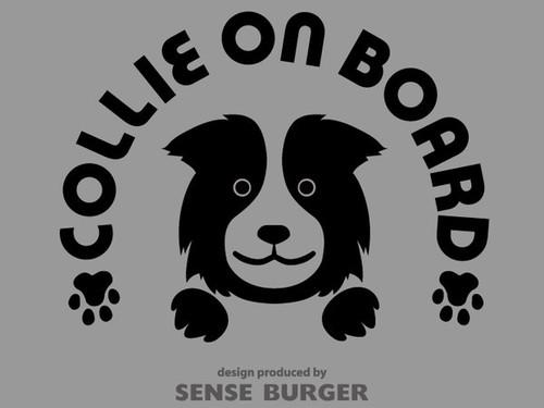 Collie on board 車に貼り付け シール DOG IN CAR ステッカー デカール 愛犬 ボーダーコリー コリー 黒 ブラック 【sti02911blk】