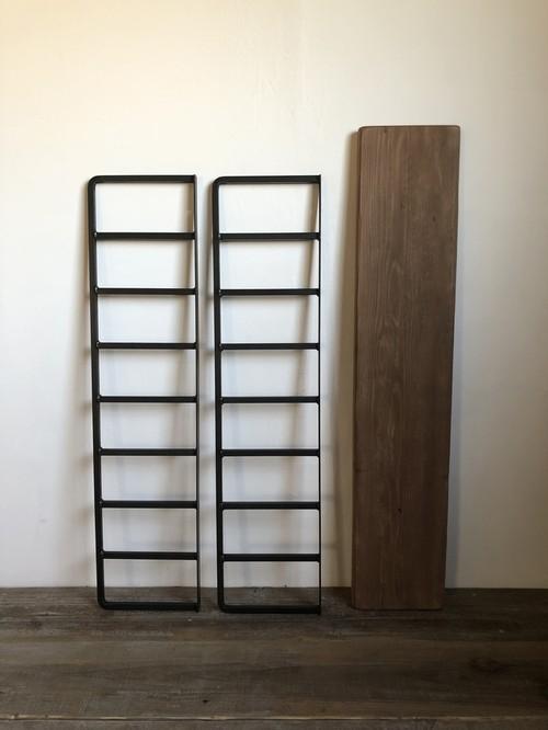 数量限定 ラダー2台+棚板1枚セット アイアン ラダーシェルフ 古材 壁付棚 ディスプレイ ラダーシェルフ ブラケット