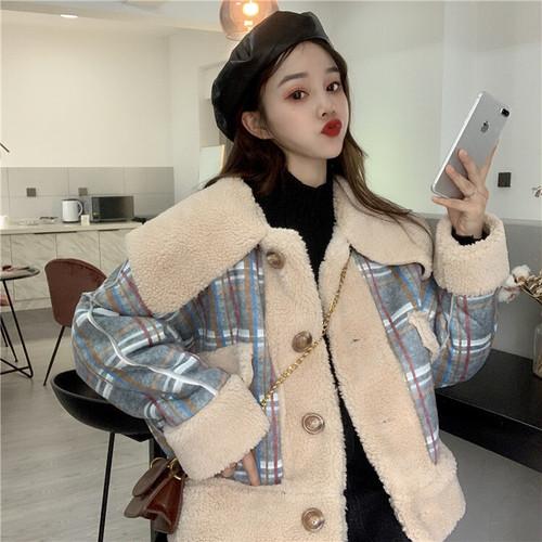 ボアブルゾン チェック柄 ブルー 韓国ファッション レディース 切り替え 折り襟 ジャケット ボアジャケット ガーリー DTC-606122502277