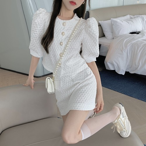 【2点セット】パールボタントップス+ダブルポケットスカート ・16056