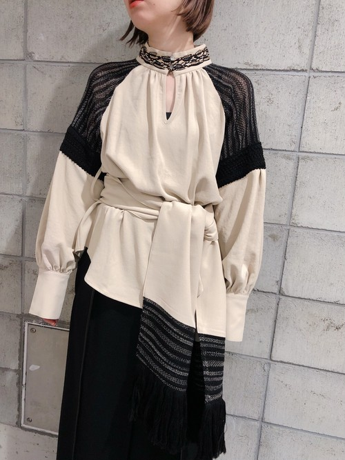 【20AW】EBONY エボニー / Belt Gather Blouse