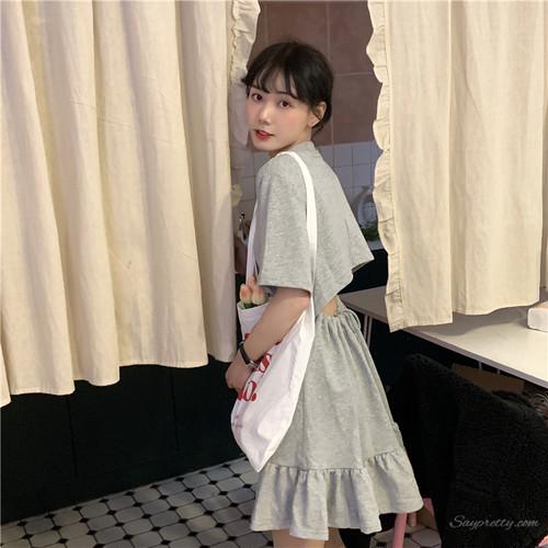 【ワンピース】シンプル春夏透かし彫り韓国系カジュアル無地半袖ショートワンピース
