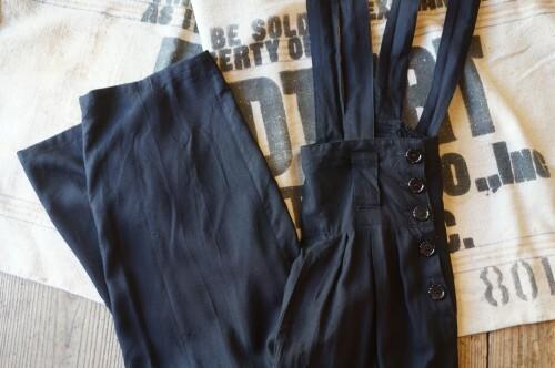 80's black rayon hi-waist strap Pants