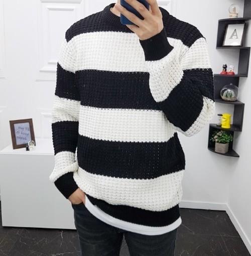 (MENS) ネーチャーボーダーニット セーター ニット メンズ メンズニット 韓国ファッション
