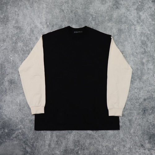 【Audience】CONTRAST SLEEVES T-SHIRT (BK/IVO) ロンT ビッグT 袖 切り替え 日本製 MADE IN JAPAN