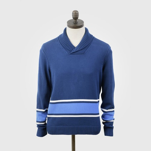 "Art Gallery Clothing | Knitted Shawl Collar Pullover ""Adams"" - Sailor Blue"