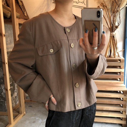 brown design no collar short jacket