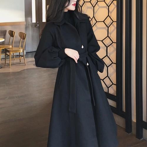 【アウター】秋冬新作配色折り襟シングルブレスト韓国風ロングランタンスリーブラシャコート