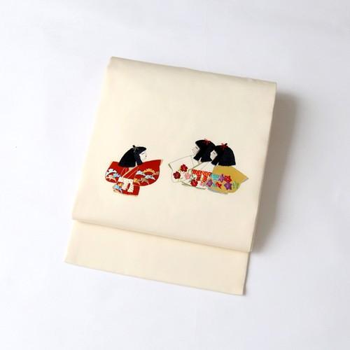 9879 童女遊び◆刺繍名古屋帯