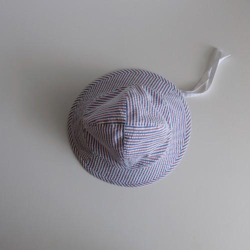 トリコロール ストライプ 帽子 コットン シアサッカー ・ テントな帽子/ tricolore stripe hat cotton