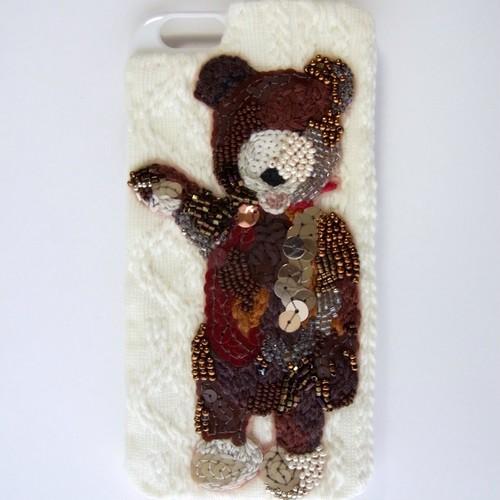 クマの刺繍iPhoneケース(iPhone6s/iPhone6)