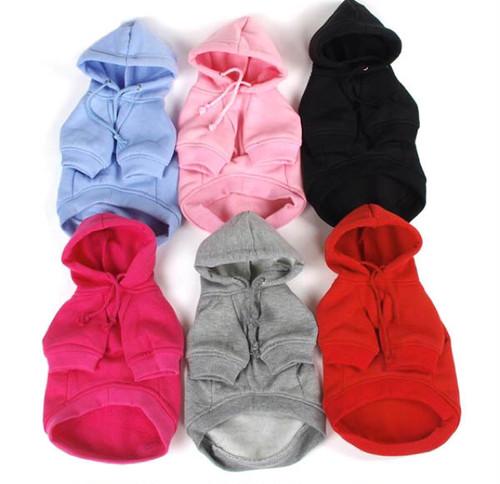 犬服 暖かいホットなパーカー ピンク、ローズ、グレー、ブラック、ブルー、レッド
