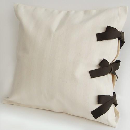 【カバーのみ】canvas stripes クッションカバー ribbon SQ