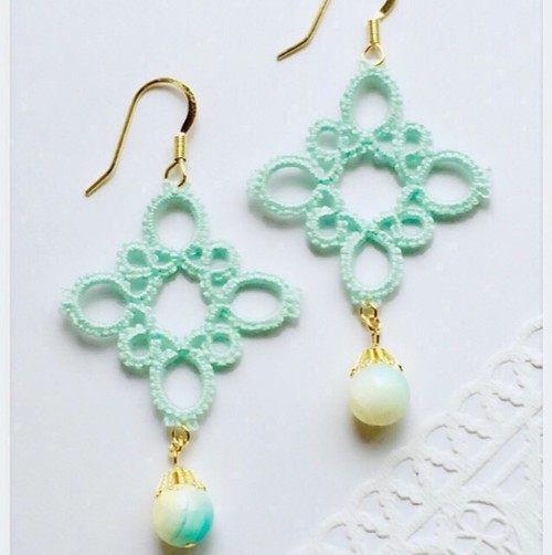 *Mint green*透かしレースpierce/earring