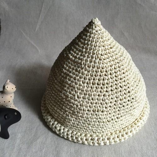 とんがり麦わら帽子 ホワイト