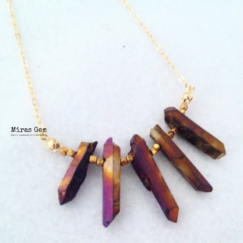 Golden purple quartz necklace