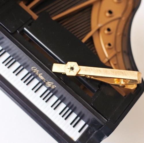 ヴィンテージスタインウェイピアノのパーツを使ったネクタイクリップ S-017  Vintage steinway piano capstan necktie bar clip (Hexagon)
