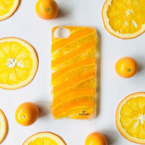 オレンジまるごと1ヶ押し花スマホケース