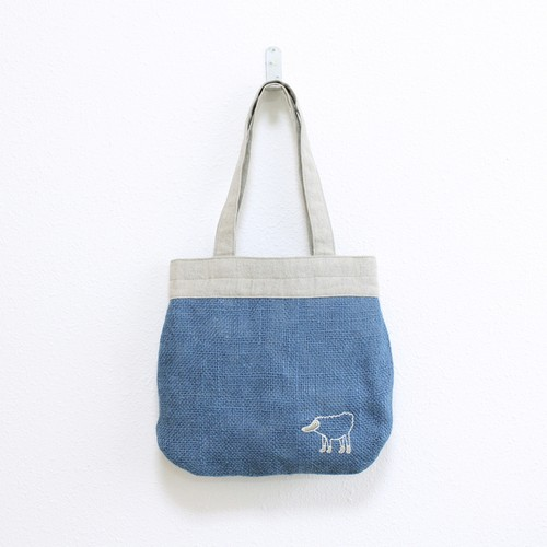 《受注制作》 リラのドンゴロスのバッグ/青