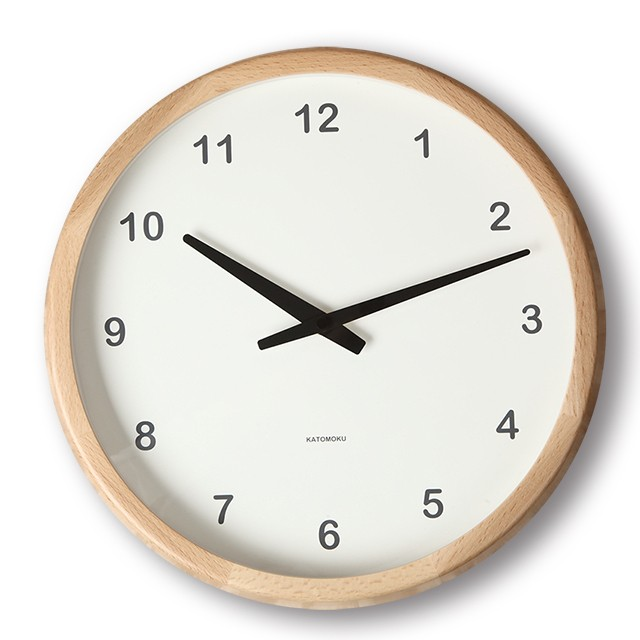 KATOMOKU muku round wall clock km-20N 電波時計