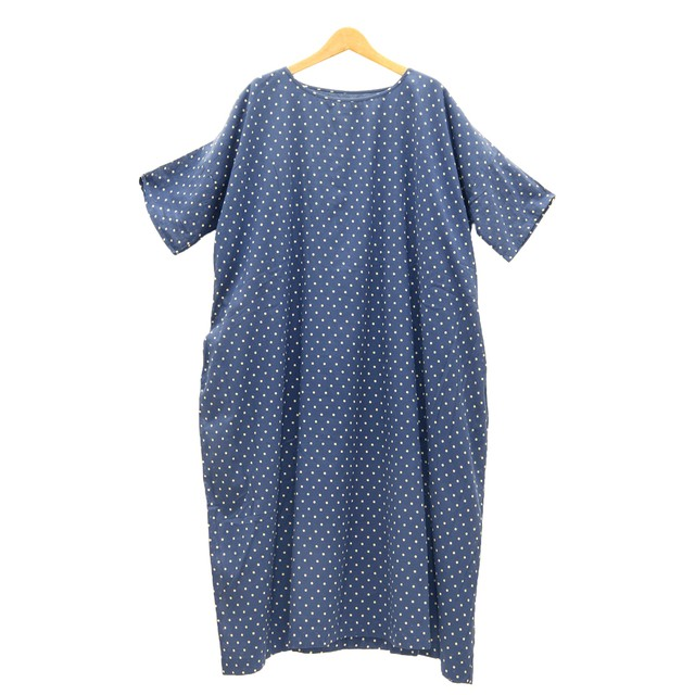 SOILソイル/COTTON VOILE DOT PRINT GATHERED DRESS WITH LININGドットギャザーワンピース「NSLS21023」