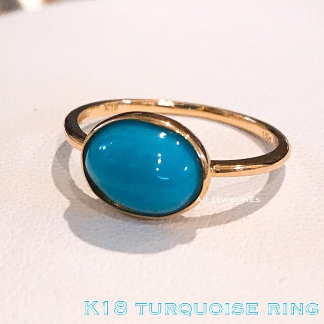 リング 18金 ターコイズ k18 天然石 ターコイズ  /  k18 turquoise ring