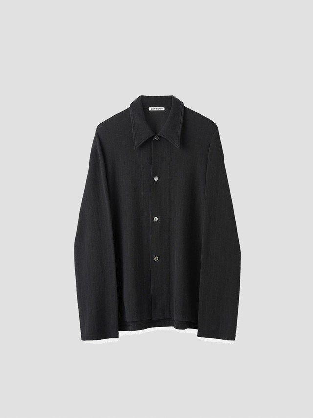 OUR LEGACY RETREAT SHIRT BLACK WAFFLE RIB M2216RB