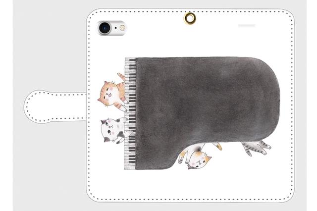 (iPhone用)ピアノ猫の手帳型スマホケース