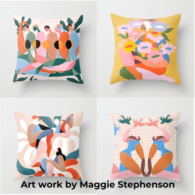 アートプリントクッション GIRLS by Maggie Stephenson
