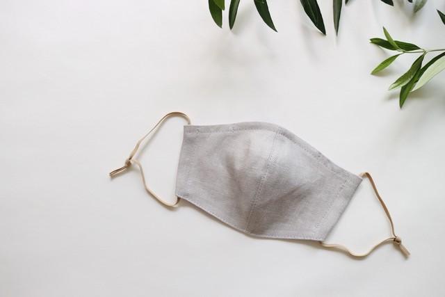 リネンのカラーマスク(リバーシブル) ヘリンボングレー  × ラベンダーピンク 1枚