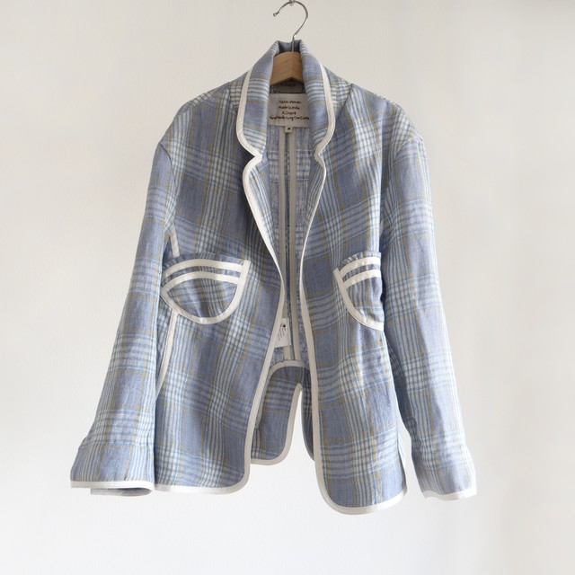 Waist Shape Jacket blue check