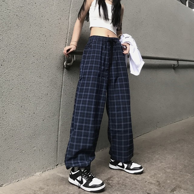 navy check easy pants PD2671