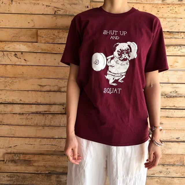 TOPANGA Lady's Shut up Squat Tシャツ エンジ