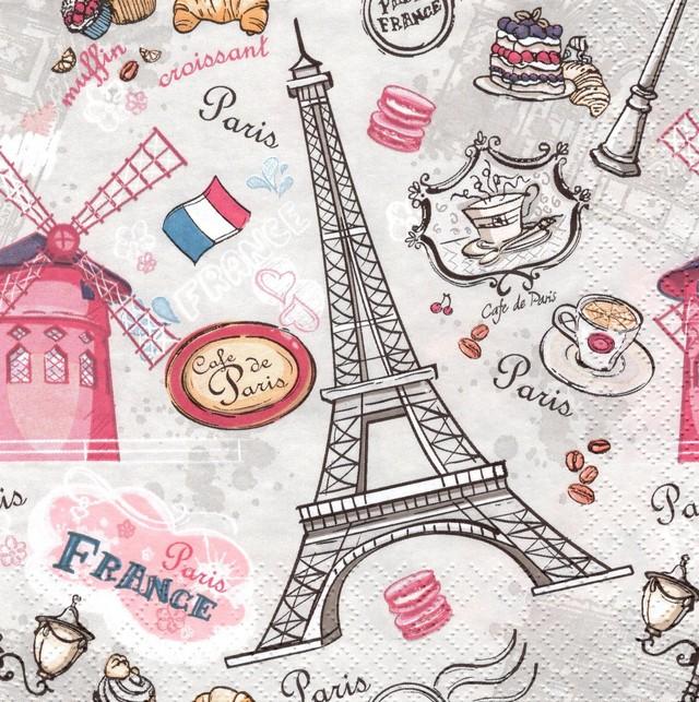 【Daisy】バラ売り2枚 ランチサイズ ペーパーナプキン THE SIGHTS OF PARIS ライトグレー
