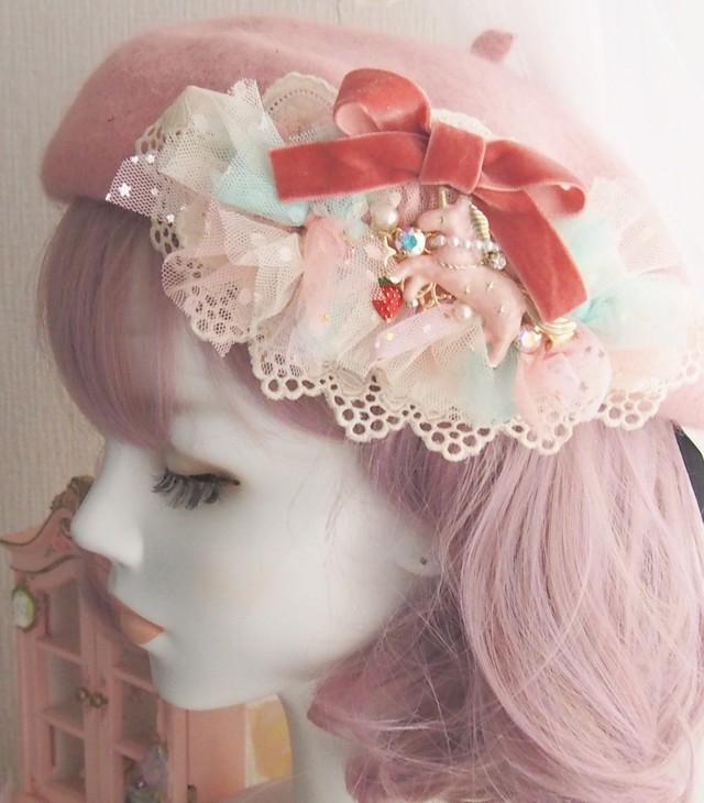 【9/16 21:00】いちご色のポワポワベレー帽