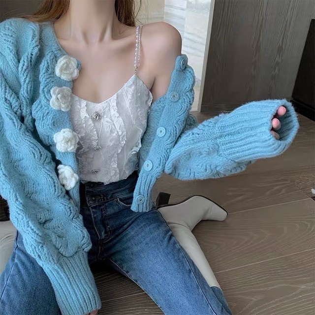 flower button cardigan