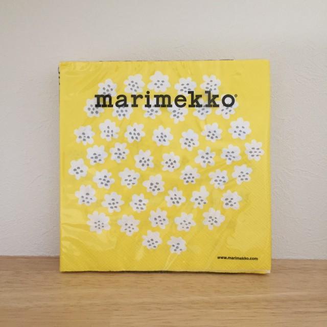 【marimekko】ランチサイズ ペーパーナプキン PUKETTI パステルイエロー