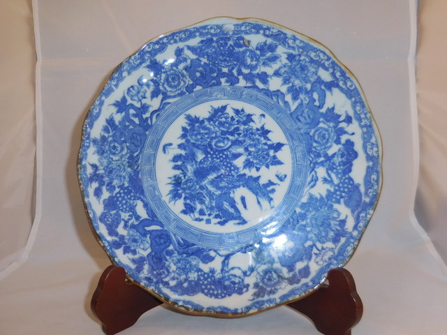 印判染付唐獅子牡丹皿 Blue&white porcelain plate(chinese lion)