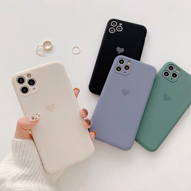 Solid Color Love Heart Case
