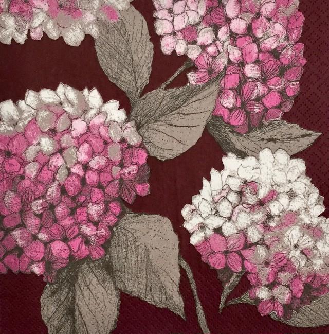 【PENTIK】バラ売り1枚 ランチサイズ ペーパーナプキン HORTENSIA ボルドー