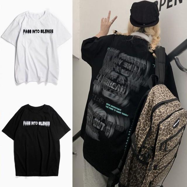 ユニセックス Tシャツ 半袖 ファントムレタープリント ラウンドネック オーバーサイズ トップス 大きめ カジュアル ストリートファッション TBN-640595956534