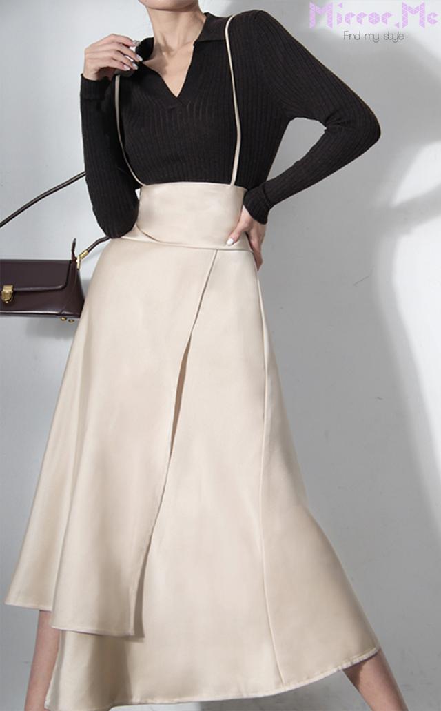 ドレープデザインストラップ付きハイウエストスカート