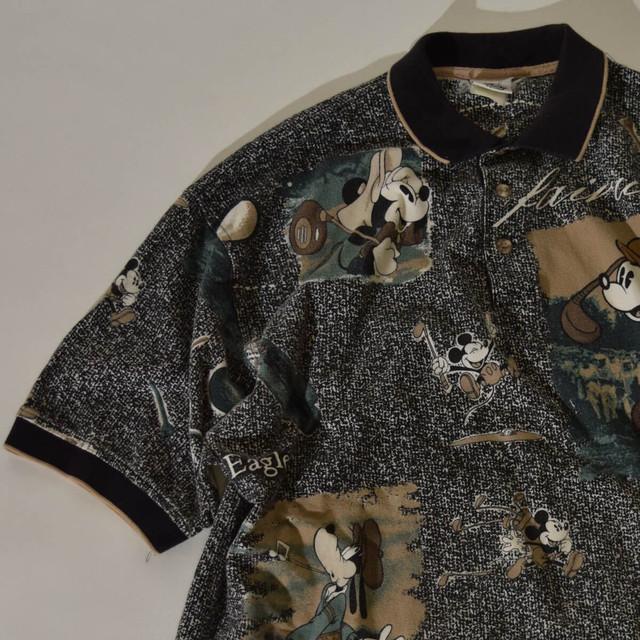 【Mサイズ寸】DISNEY ディズニー GOLF POLO SHIRT ポロシャツ BLACK ブラック 400603190801